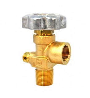 "Sherwood Brass Diaphragm Packless CGA 580 outlet; 3/4"" NGT inlet, 3000 PSI pressure relief device"