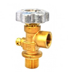"Sherwood Brass Diaphragm Packless CGA 580 outlet; 1.125"" UNF inlet, 3775 PSI pressure relief device"