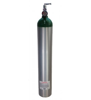 Medical Oxygen with post valve, on/off  toggle, pressure gauge - 24 cu ft