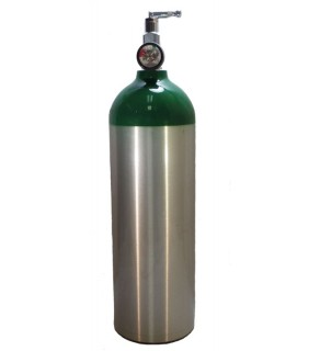 Medical Oxygen with post valve with on/off  toggle, with pressure gauge - 22 cu ft