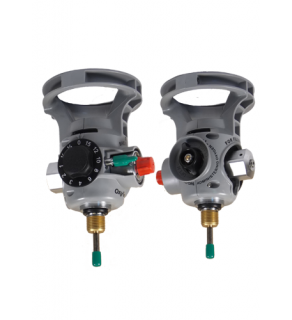 FOR USE WITH ALUMINUM CYLINDERS - INTEGRATED OXYGEN VALVE AND REGULATOR COMBINATION WITH STANDARD BRASS FILL SHUT OFF VALVE WITH DISS CONSTANT FLOW CONNECTION