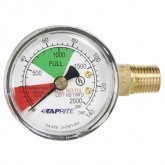"Taprite, Pressure Gauge, 0-2000 PSI, Right Inlet, 1/4"" NPT, Left Hand Threads"